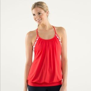 LULULEMON NO LIMITS TANK TWIN SRIPE LIVE RED